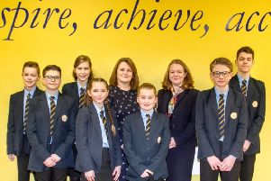 Sarah Wilson, Executive Principal at CMAT (centre left), and Angela Smith, Headteacher at The Ferrers School (centre right), with students from the Ferrers School. NNL-191002-190858005