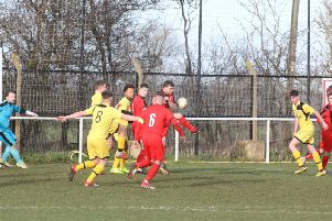 Goalmouth action from Irchester United's 4-0 victory over Raunds Town in Division One of the United Counties League. Pictures by Alison Bagley