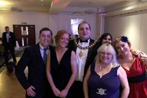 Katie Read (front right) founded STAGES, which was selected by former Corby Mayor Matt Keane as his chosen charity for 2018