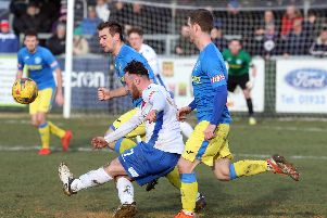 Action from AFC Rushden & Diamonds' 1-0 win over King's Lynn Town last weekend. Picture by Alison Bagley