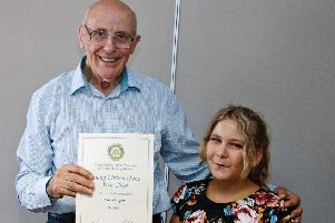 Zoe Glasgow receiving the Rotary Young Citizen Award in 2018 PHOTO: Supplied