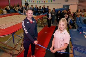 Big Jump Trampoline Club officially opened by olympic trampoline coach Paul Greaves. Paul pictured with Stephanie Osborn. EMN-191102-095724001