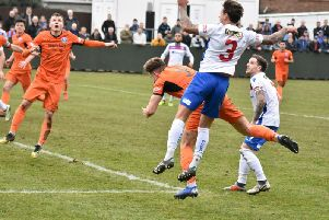 Jack Ashton was on target with this far-post header as AFC Rushden & Diamonds drew 1-1 with Leiston at the weekend. Picture courtesy of HawkinsImages