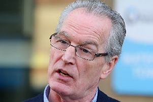 Sinn Fein's Gerry Kelly pictured outside the Policing Board headquarters in Belfast