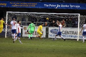 Steve Diggin, pictured scoring for Banbury United in their 1-1 draw at AFC Rushden & Diamonds last month, has returned to Corby Town