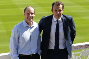 Tom Harrison (right) with Andrew Strauss.