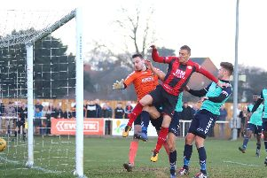 It was Brett Solkhon's turn to be the late hero for Kettering Town as this goal earned them a 2-1 victory over Rushall Olympic last weekend. Picture by Peter Short