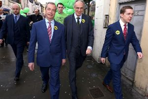 Grassroots Out: Wellingborough: MEP Nigel Farage , Peter Bone MP for Wellingborough, Tom Pursglove MP for Corby and East Northants, on a walkabout in Wellingborough before the EU referendum.