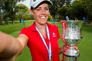 Meghan MacLaren was all smiles after she won the Womens New South Wales Open for the second year in a row. Picture courtesy of Tristan Jones/LET