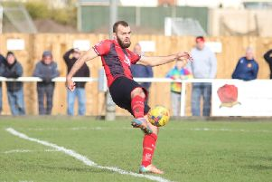 Gary Stohrers fine volley  put Kettering Town 2-0 up during their 3-0 victory over Banbury United at Latimer Park last weekend. Picture by Peter Short