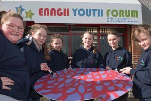 """Deirbhile Hone, Ashlin Pyper, Shantel Doherty, Ellie Dornan and Emily-Jane Edwards, pictured during a workshop in Enagh Youth Forum as they prepare to take part in Derry City and Strabane District Council�""""s annual Spring Carnival on St. Patricks' Day. Picture Martin McKeown."""