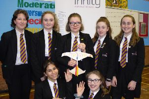 Some of the Trinity Catholic School pupils who took part in the test.
