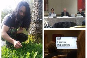 Richard Mawby (left) addressed the Planning Inspectorate panel (top right) at an open hearing meeting last night