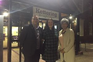 Kettering Town Partnership members Simon Cox, Alison Holland and Donna French (right).