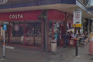 Staff at Costa opened an unattended bag and found a knife, a passport and 42 grams of white powder.