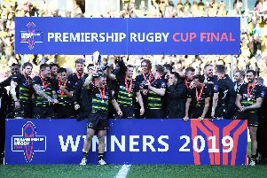 Saints celebrated winning the Premiership Rugby Cup at Franklin's Gardens
