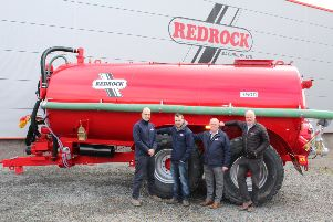 Riada Tractors and Agri Sales has been appointed as the new Redrock Machinery agent for Co Antrim. Discussing their joint plans for the future while standing in front of a twin axle Redrock vacuum tanker: left to right: Mark Linden, sales manager Redrock Machinery; Boyd McVicker, Riada Tractors and Agri Sales; Ken McVicker, Riada Tractors and Agri Sales and Frank Flynn, managing director Redrock Machinery