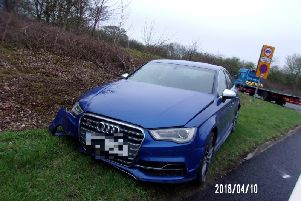The damaged Audi