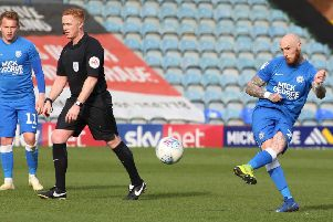 Marcus Maddison opens the scoring for Posh against Southend. Photo: Joe Dent/theposh.com.