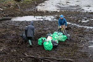 Members of the club during the litter pick at the River Faughan