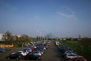 A plume of black smoke could be seen from some distance. Photo courtesy of Alfie from Northants 999 Videos.