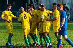 On their way... Chi City celebrate a goal at Shoreham / Picture by Daniel Harker