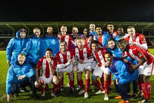 Brackley Town show off the NFA Hillier Senior Cup after their win at Sixfields. Pictures by Kirsty Edmonds