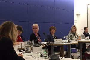 Sally Hodges (fourth from right) is now the highest paid senior officer at the county council and is being paid 1,100 a day.