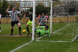 Goalmouth action from AFC Rushden & Diamonds' 0-0 draw at St Ives Town. Picture courtesy of HawkinsImages