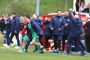 It was Alvechurch and not Kettering Town who were celebrating at the final whistle at Latimer Park. Picture by Peter Short