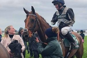 Kelly and jockey Tabitha Worsley share a word after their brilliant Foxhunter Chase win EMN-190904-174019002