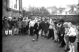 Enjoying kickabout in the playground pupils of St Georges School, Barrack Road Northampton, in April 15, 1970