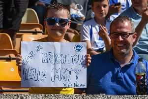 Albion fans pictured at the game