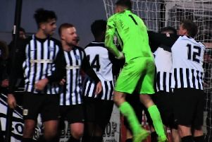 Corby Town celebrate one of their goals in their 4-1 win over Bedford Town in January. The Steelmen will now take on the Eagles in a play-off semi-final at Steel Park next Wednesday