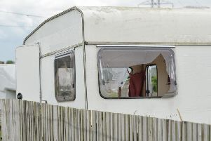 One of the damaged caravans in the aftermath of the attack.