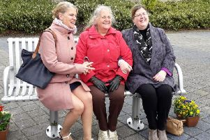Betty Wade (Centre) was present at the bench dedication. Picture with thanks to David Fursdon.