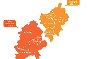 Proposed unitary authority boundaries for Northamptonshire