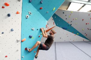 Inside the climbing centre.