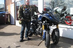 Vince Whitrow with his Yamaha Niken on which he'll attempt the 1,000-mile challenge