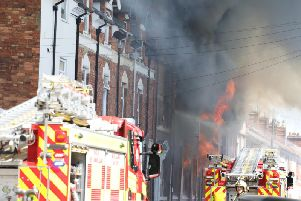 Flames tore through the building. Picture by Alison Bagley.