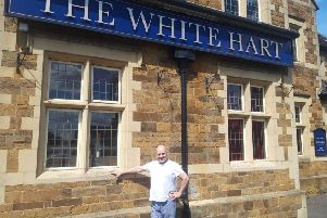 Landlord Paul Falzon outside The White Hart in Corby. NNL-190522-152555005
