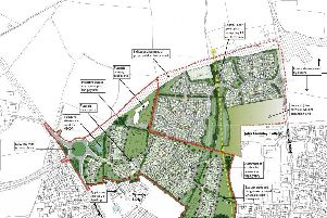 A map showing the proposed redevelopment of farmland to the north of Melton, between Nottingham Road and Scalford Road, to provide up to 290 new homes and a new primary school EMN-190523-112326001