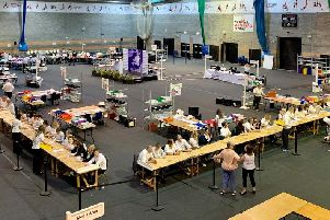 Results are being declared at Kettering Conference Centre