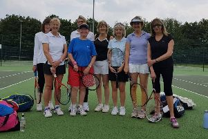 The senior ladies players Jeanette Turland, Pat Bird, Ros Elphick, Jenny Stone and their Spalding opponents.
