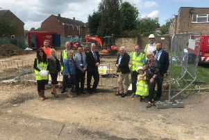 Corby Borough Council and construction company F1 Modular held a start-on-site ceremony at Wilby Close, Corby, today (Tuesday) to mark the beginning of work on new flats.