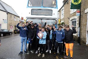 Victory Parade: Higham Ferrers: Higham Under 14s Colts football team have gone all season unbeaten on an open-top bus tour through Higham and Rushden. 'Saturday June 8th 2019 NNL-190806-111451005