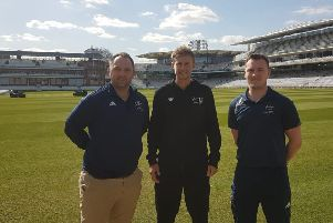 Tom Flowers (left) with England skipper Joe Root and lead coach Ben Silver at Lord's EMN-190613-123301002