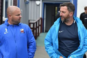 Nicky Eaden (right), pictured during his stint as manager of Nuneaton Borough, will be leading Kettering Town into the Vanarama National League North next season