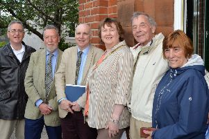 Pictured at the unveiling of a blue plaque in honour of Professor Robert John Gregg at the Larne Museum and Arts Centre are (L to R) Liam Logan, committee member, Chris Spur, chairman and Paul Clements, vice chairman, all the Ulster History Circle,  the Mayor of Mid and East Antrim, Cllr Maureen Morrow , William Gregg, son of Professor Gregg and his wife Irene. INLT 22-005-PSB