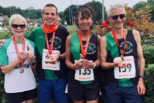 Hastings Runners' age category winners at the Heathfield 10K